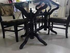 Full teak 4- chair dining table