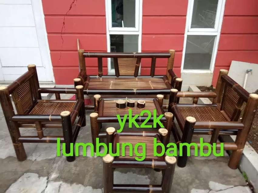 Bismillah, kursi bambu hitam minimalis.