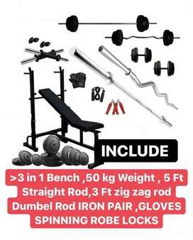 3 in 1 Bench Combo with 50 kgs weights