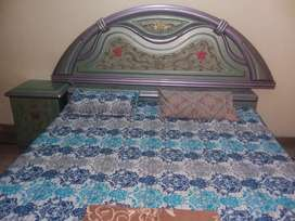 wooden Double Bed, side table and Wood Almirah for sale