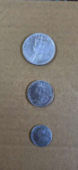 Antique 1 rs half rupees and quater rs Silver Coin Set for Sell
