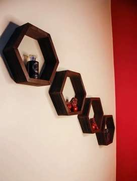 Wall shelves hexagon wooden for home decor and decorations furniture
