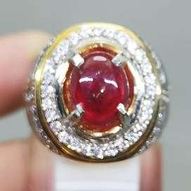 Cincin Batu Ruby Merah Delima Opal Natural Asli (Kode 804)
