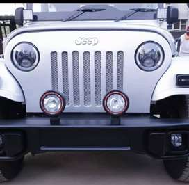 Modified white jeep