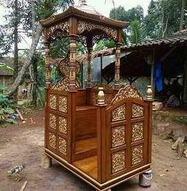 mimbar masjid ukir jepara bahan kayu jati