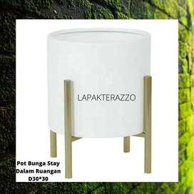 Pot Unik untuk stay Dalam Ruangan Handmade Terazzo Plus Standding
