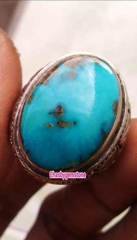 Cincin Batu Pirus Persia Lawasan-Pirus Persia Biru Fancy Terang
