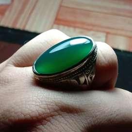 Batu cincin natural chrom chalcedony hijau
