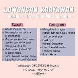 LOKER : Admin & Live Shopping Olshop