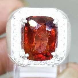 Batu Cincin Garnet Ceylon Srilangka Ring Perak Asli
