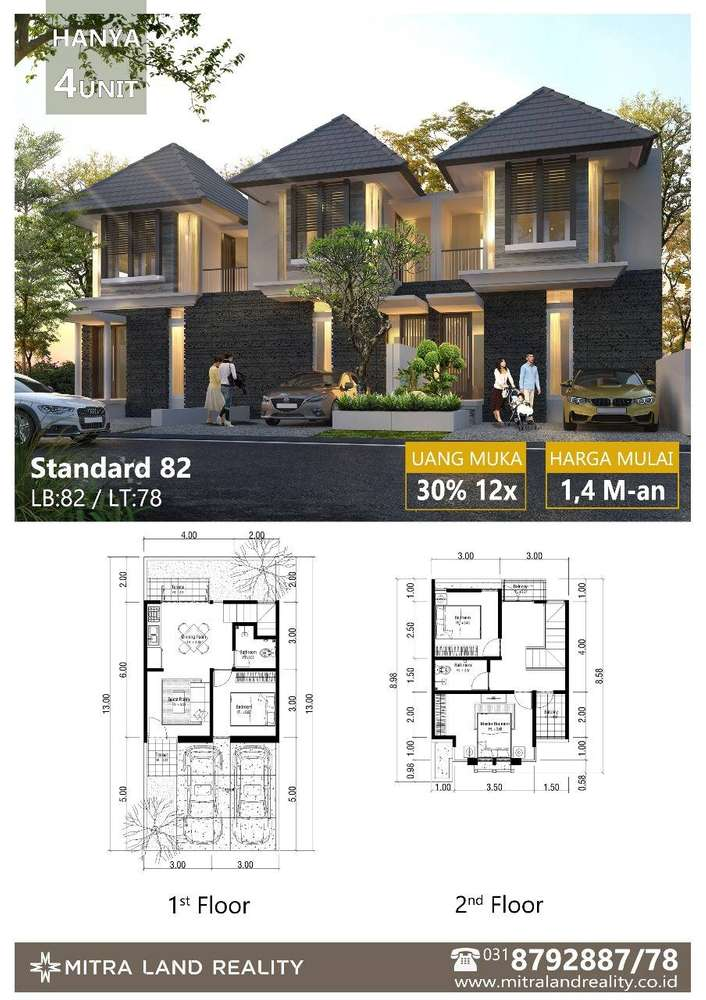 sisa satu unit saja rumah baru gress dua lantai design moderntropis