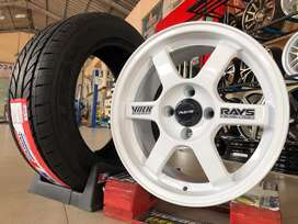 Jual velg Nissan March Type-> VOLK RAYS R15X7 H4X100 ET35 White+Ban