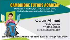 Lady Tutors Required For Matric/Intermediate/O Levels & A Levels Exams