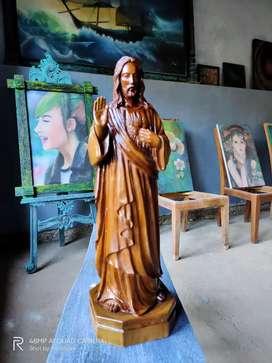 Patung Yesus Kayu Jati