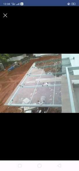 Glass Canopy work, ACP work, Tuffen Glass, Aluminium Fabrication work