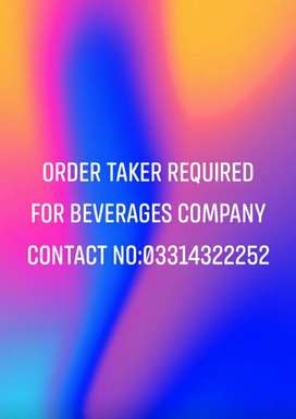 Order taker required for beveraves company