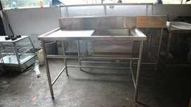 Meja Sink Stainless Steel Anti Karat Ukuran Bowl 50 x 50 x 30 Cm