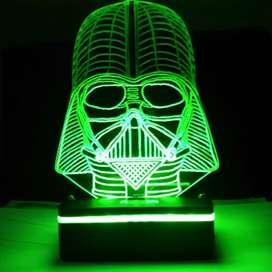 """Lampu Malam Efek """"Star Wars"""" - """"Darth Vader"""" LED 3D - 3D Illusion Lamp"""