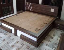 Double bed with storage c,upholstry head board
