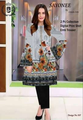 Branded Digital Printed shirt with embroidered trouser
