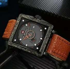 jam tangan naviforce unik strap coklat