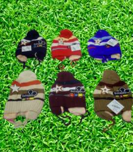 Pack of 3 Woolen cap Size upto 1 to 7 year & in 6 shades50% OFF