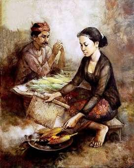 lukisan kanvas pasar rakyat