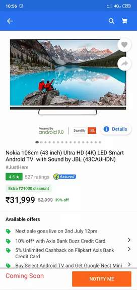 Nokia 108cm(43 inch) ultra HD(4k) LED SMART Android TV with sound  JBL