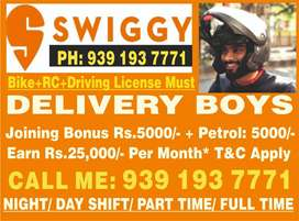 Delivery Partners Urgently required for Swiggy