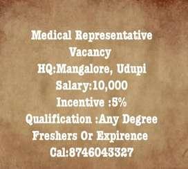 Medical Representative Vacancy At Udupi And Mangalore