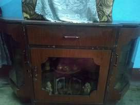Wooden Cabinet with glass showcase and drawers