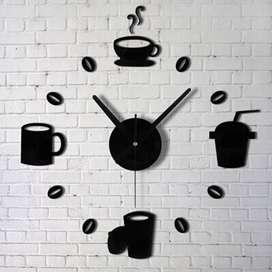 Taffware Jam Dinding DIY Giant Clock Quartz Design Model Kopi Kafe