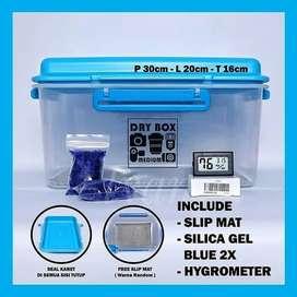Dry Box Satu Set Dengan Hygrometer Slipmat Silica Gel Blue Penyimpan