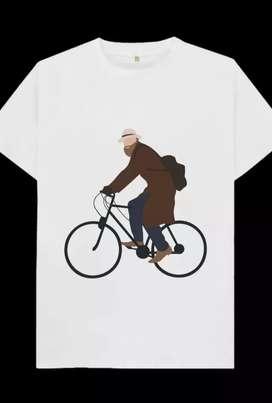 Kaos gambar man with coat ride bike, 1 desain hanya untuk 1 pembeli