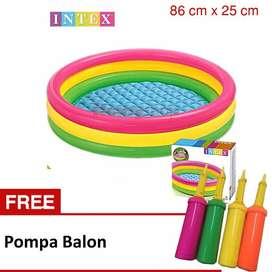 Kolam Renang Anak Merk Intex Ukuran 86 x 25 cm Free Pompa Balon Murah
