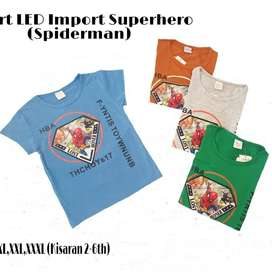 Kaos Anak Import LED Superhero (kisaran umur 2-6th)
