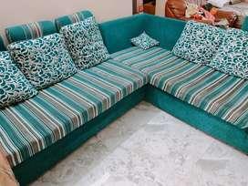 6 seater L Shaped blue sofa set