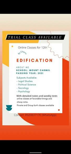 Online Class For 12th, Trial Class Available