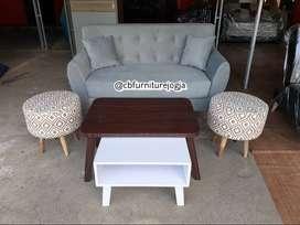 Sofa tamu set model meja dobel