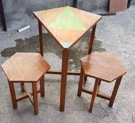 Meja+2 kursi kayu jati