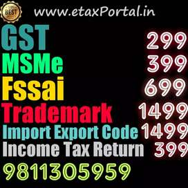Gst, Gst Registration, Gst return, Gst Filing, fssai license,msme, IEC