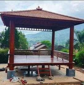 Saung gazebo kayu kelapa ukuran 3x3m free ongkir dan pasang