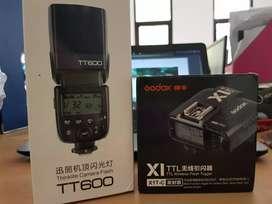 Flash GODOX TT-600 HSS + Trigger X1T C transmiter only for CANON