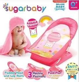Sugar baby bouncer, roxie rabbit, pink