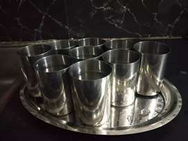 Set of 12 glasses with one steel tray