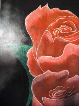 vibrant Calligraphy and Roses oil and acrylic Painting