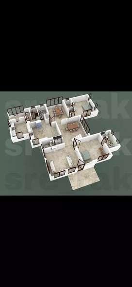 3D Cut View of Buildings,shop ,apartments