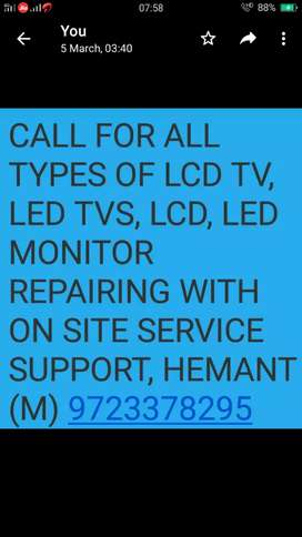 All kind of LCD, LED TV, MONITORS REPAIRING