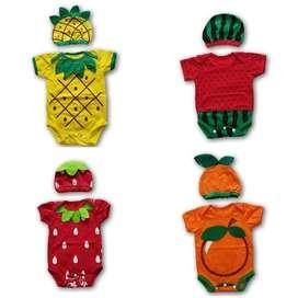 Jumper Baby Costume Kostum Bayi Buah Set Topi Lucu