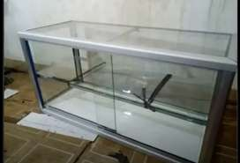 Etalase kaca untuk dagang makanan matang ukuran 100x40x50